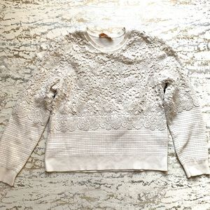 Tory Burch Crochet Overlay Sweater